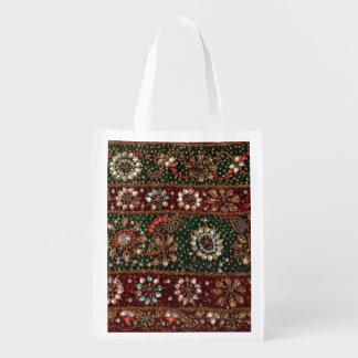 クリスマスのインドのきらきら光るなインドの織物の刺繍 エコバッグ