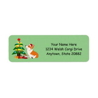 クリスマスのウェルシュコーギーの漫画 返信用宛名ラベル