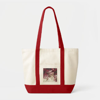 クリスマスのウサギのポインセチア トートバッグ