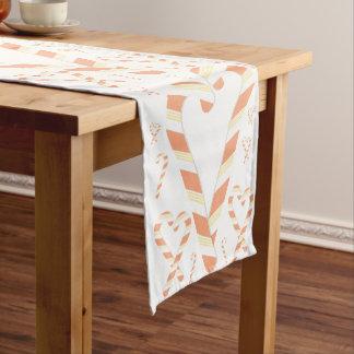 クリスマスのオレンジキャンディ・ケーンのテーブルのランナー ショートテーブルランナー
