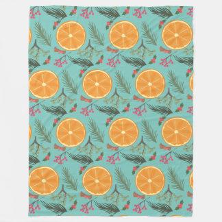 クリスマスのオレンジリースのプリント毛布 フリースブランケット