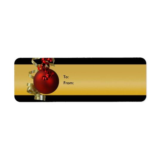 クリスマスのオーナメントのギフトはリボンの赤の金ゴールドに付けます 返信用宛名ラベル