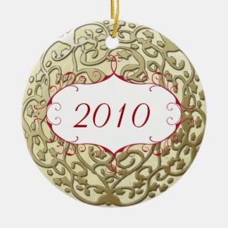 クリスマスのオーナメントの金ゴールドスクロール セラミックオーナメント
