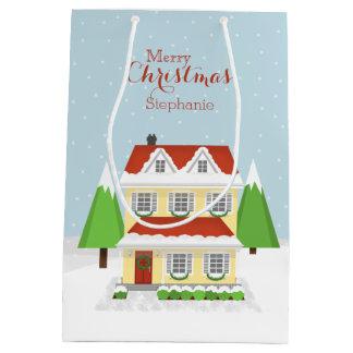 クリスマスのオープンハウス ミディアムペーパーバッグ