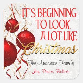 クリスマスのカスタムのように見え開始 スクエアシール
