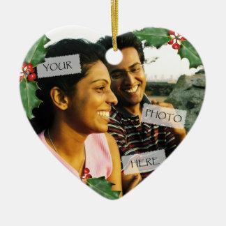 クリスマスのカップルのハートの写真のオーナメント セラミックオーナメント