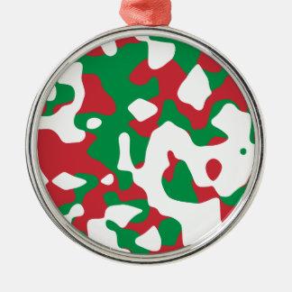 クリスマスのカムフラージュ シルバーカラー丸型オーナメント