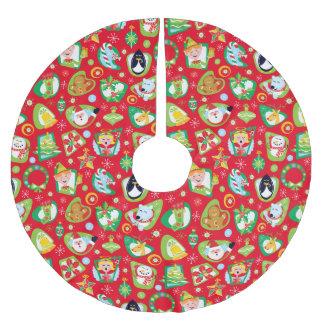 クリスマスのキャラクターの木のスカートの赤 ブラッシュドポリエステルツリースカート