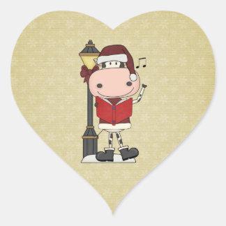 クリスマスのキャロル-牛 ハートシール