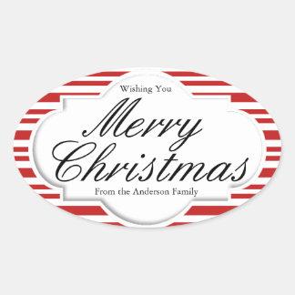 クリスマスのキャンディ・ケーンのパーティー 楕円形シール