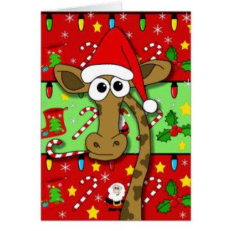 クリスマスのキリン-カラフル カード