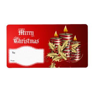 クリスマスのギフトのクリスマスの赤の蝋燭を分類して下さい ラベル