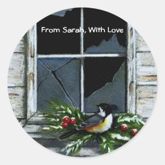 クリスマスのギフトのステッカー: 《鳥》アメリカゴガラ: 窓 ラウンドシール