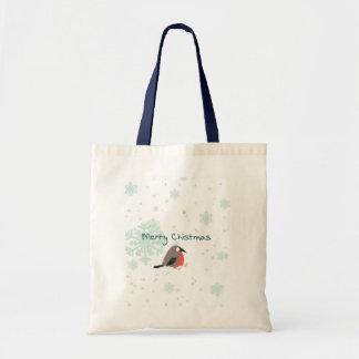 クリスマスのギフトのトートバックのかわいい鳥および雪片 トートバッグ
