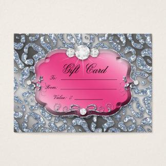 クリスマスのギフトカードジュエリーのシマウマのピンクのヒョウ 名刺