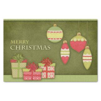 クリスマスのギフト用の箱およびオーナメントのイラストレーション 薄葉紙