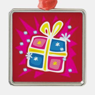 クリスマスのギフト用の箱のオーナメント メタルオーナメント