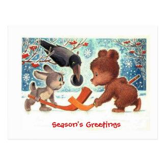 クリスマスのギフト、アイスホッケーを遊んでいる動物 ポストカード