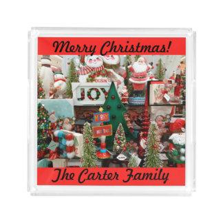 クリスマスのクッキーおよびココヤシサンタのあなたの一流の木 アクリルトレー