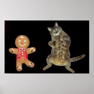 クリスマスのクッキーおよび虎猫猫のダンス ポスター