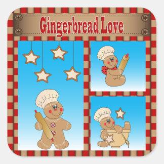 クリスマスのクッキーのジンジャーブレッドマン スクエアシール
