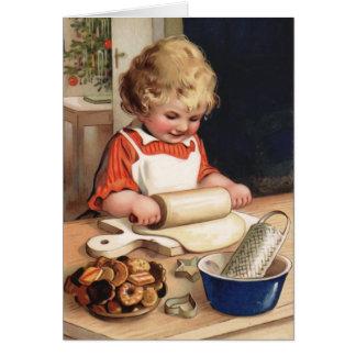 クリスマスのクッキーのヴィンテージのクリスマスカード カード
