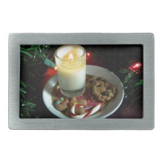 クリスマスのクッキーの蝋燭III 長方形ベルトバックル
