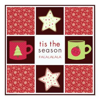 クリスマスのクッキー交換パーティの招待状 カード
