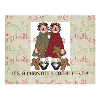 クリスマスのクッキー交換招待 ポストカード