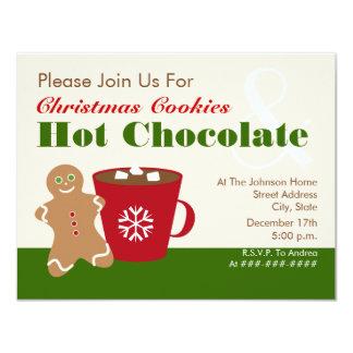 クリスマスのクッキー及びココアの招待状 カード