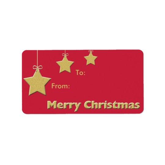 クリスマスのクリスマスのプレゼントのラベル -- クリスマスの星 宛名ラベル