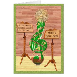 クリスマスのクレフ、音符記号の木 カード
