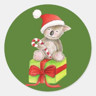 クリスマスのコアラの円形のステッカー ラウンドシール
