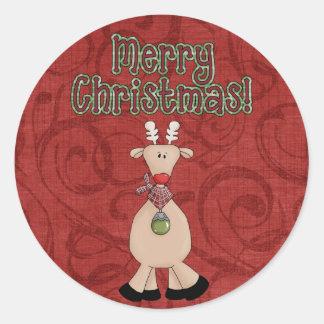 クリスマスのコレクションのおもしろいのトナカイのステッカー ラウンドシール