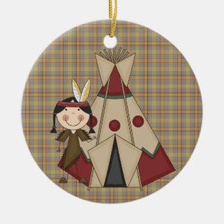 クリスマスのコレクションの原産のアメリカインディアンの女の子 セラミックオーナメント
