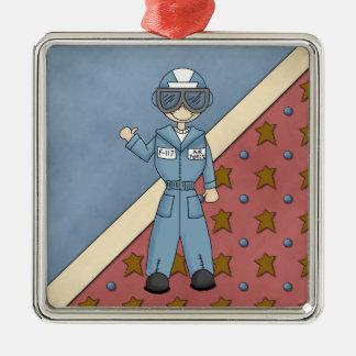 クリスマスのコレクションの空軍人のオーナメント シルバーカラー正方形オーナメント