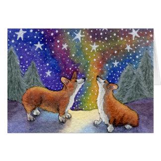クリスマスのコーギーは星を一緒に梳きます楽しみます カード