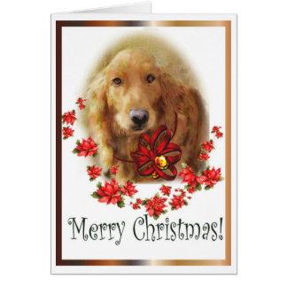 クリスマスのゴールデン・リトリーバーの挨拶状 カード