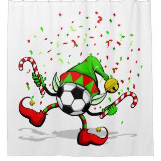 クリスマスのサッカーの踊りの小妖精や小人 シャワーカーテン