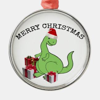 クリスマスのサンタのかわいくおもしろいな恐竜 メタルオーナメント