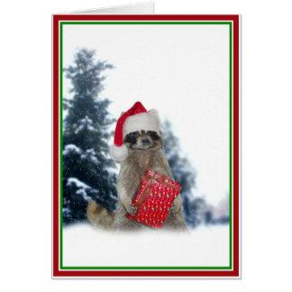 クリスマスのサンタのアライグマの強盗 カード