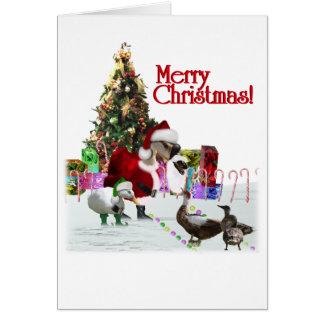 クリスマスのサンタのガチョウおよびアヒル カード