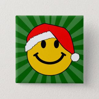 クリスマスのサンタのスマイリーフェイス 5.1CM 正方形バッジ