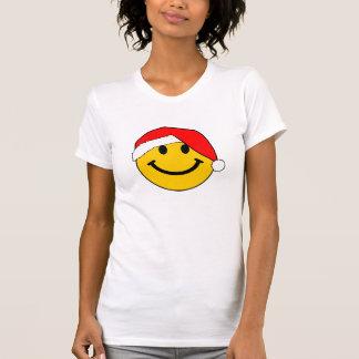 クリスマスのサンタのスマイリーフェイス Tシャツ