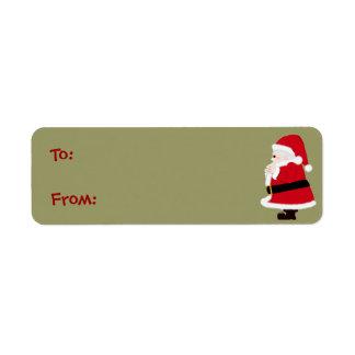 クリスマスのサンタのラベル 返信用宛名ラベル