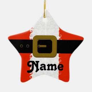 クリスマスのサンタの名前入りなオーナメント セラミックオーナメント