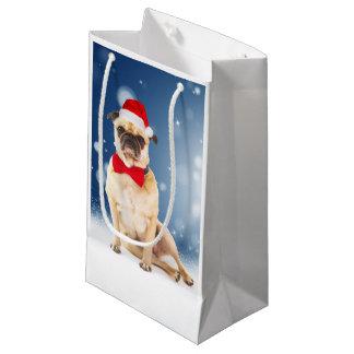 クリスマスのサンタの帽子が付いているパグ スモールペーパーバッグ