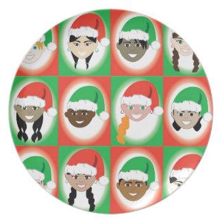 クリスマスのサンタの帽子の子供 プレート