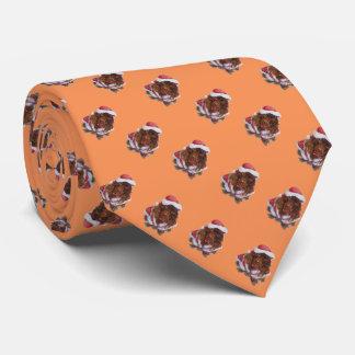 クリスマスのサンタの用品類のおもしろいのかわいい茶色のスパニエル犬 ネクタイ