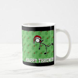 クリスマスのサンタの砲丸投げ投げる人のヒイラギStickman コーヒーマグカップ